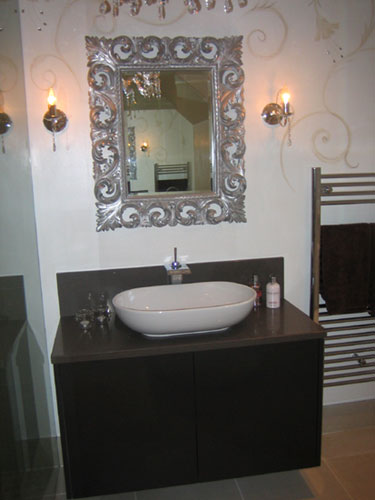 Hand painted bathroom with jewelled walls
